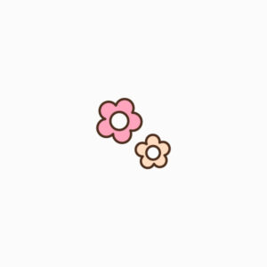 Cute pink and beige flowers icon