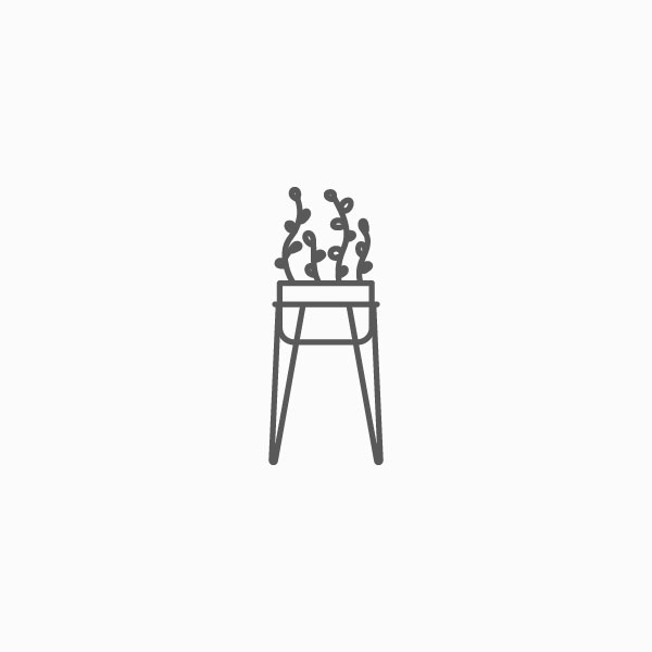 Planter icon with hairpin legs