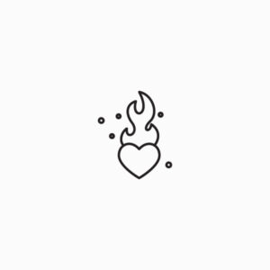 Flaming heart icon outlined thin line