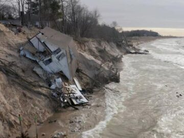 A home toppled due to erosion on Lake Michigan. MLive Media Group