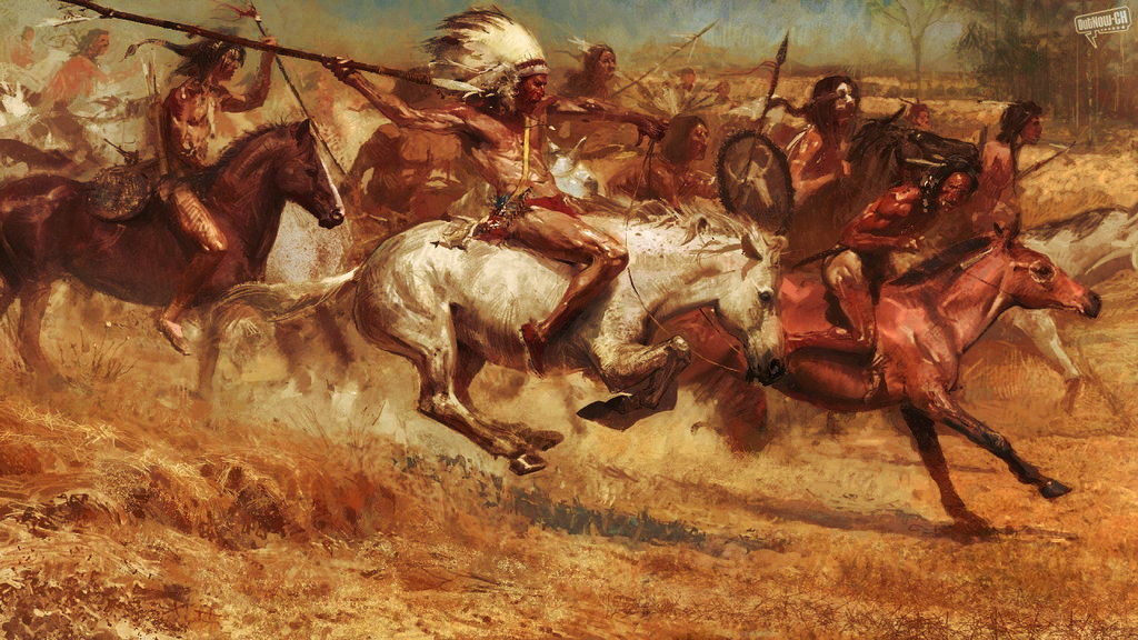 From the game Age of Empires III The Warchiefs, represent the brave sioux warriors in battle, I think in the Battle of Little Big Horn.