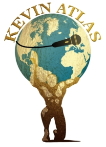 Kevin Atlas Logo strong man carrying the world with a microphone wrapped around it