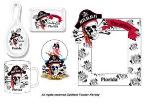 Miami ashtrays souvenirs sculls product illustration and design
