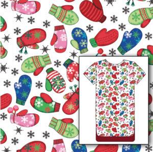 Miami Christmas medical scrubs textile design illustration