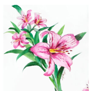 Miami hand painted lilly textile design illustration