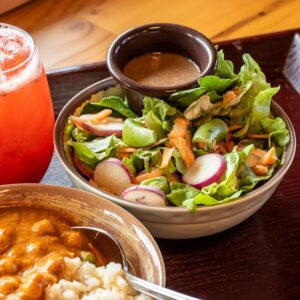 Chickpea Masala, Green Salad, and Our House Made Dressing