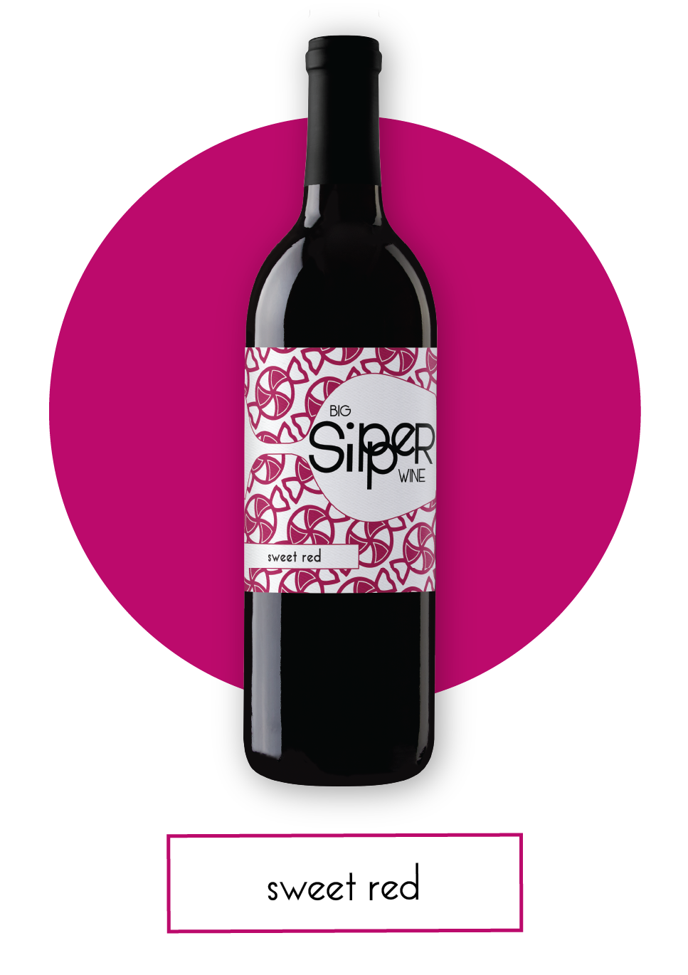Big Sipper Sweet Red Wine Bottle with Button