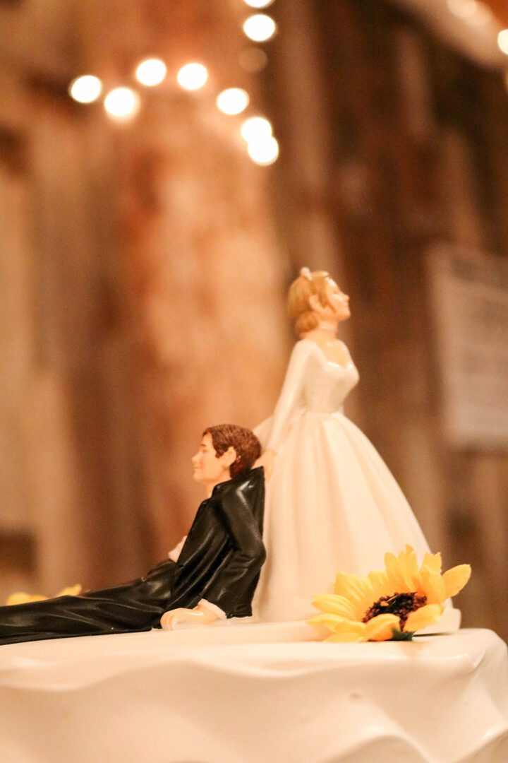 Bride pulling a groom on his collar cake topper