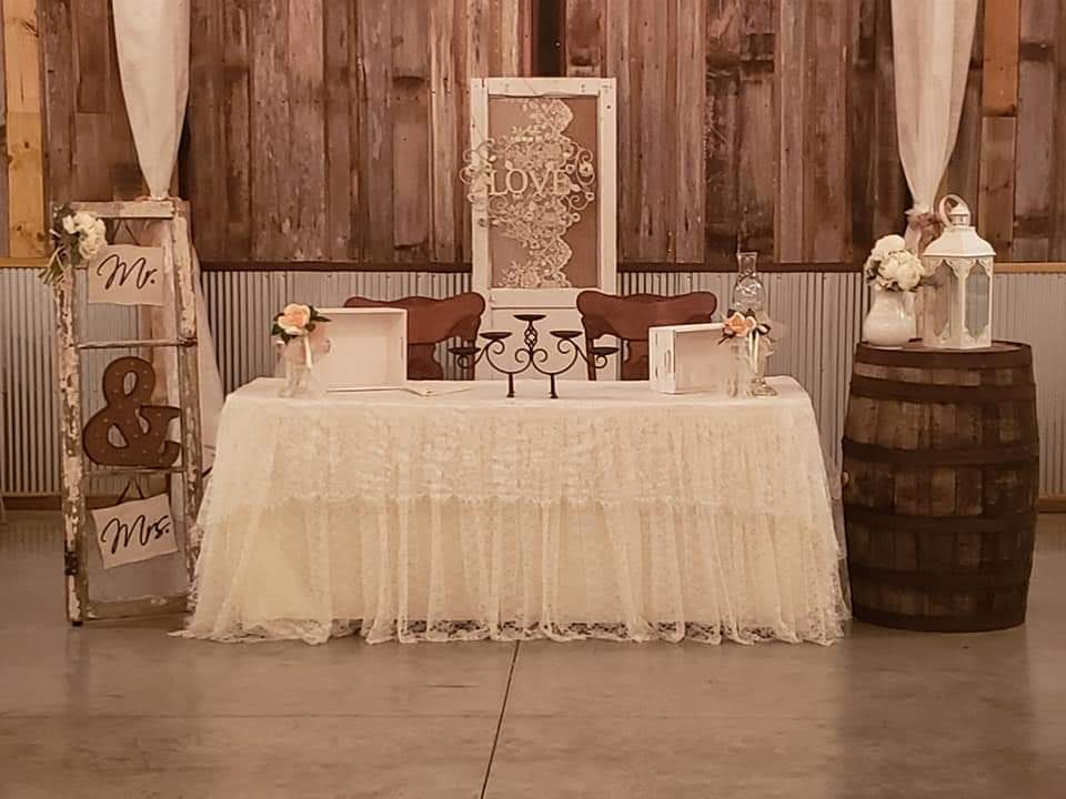 Reception table for the bride and groom
