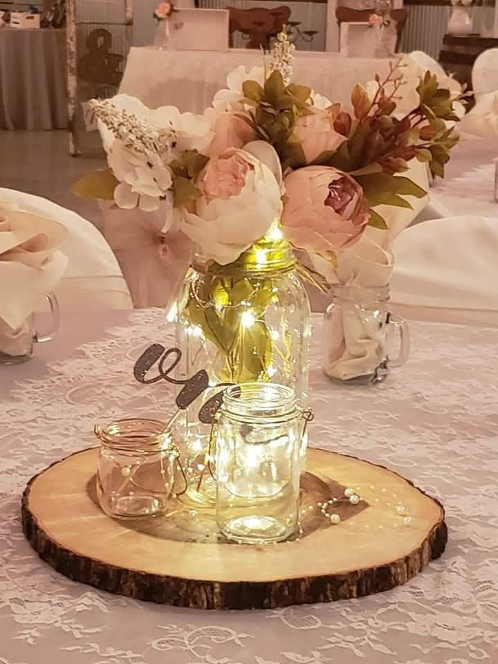 Beautiful flower centerpiece with fairy lights