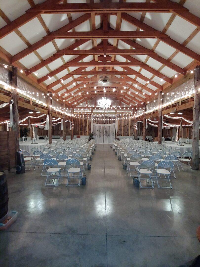 Indoor wedding set at the barn