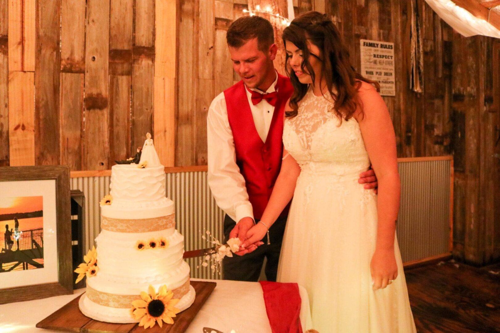 Wedding couple cutting their cake