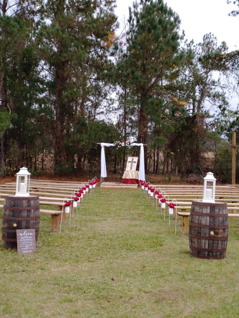 Outdoor wedding site at the barn