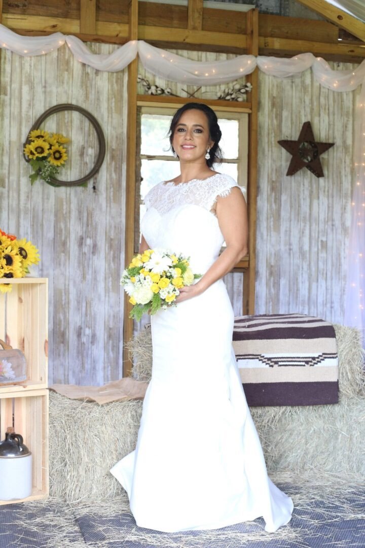 Wedding bride inside the cabin