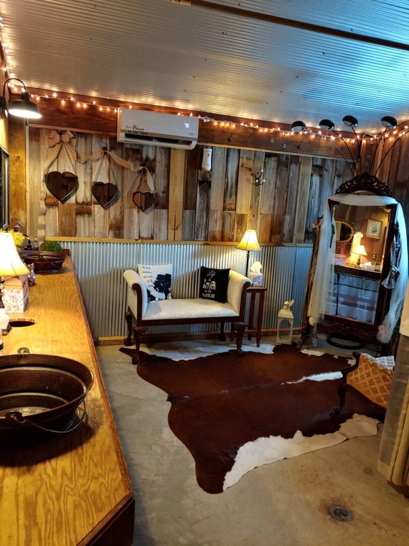 Farm-themed barn lounge