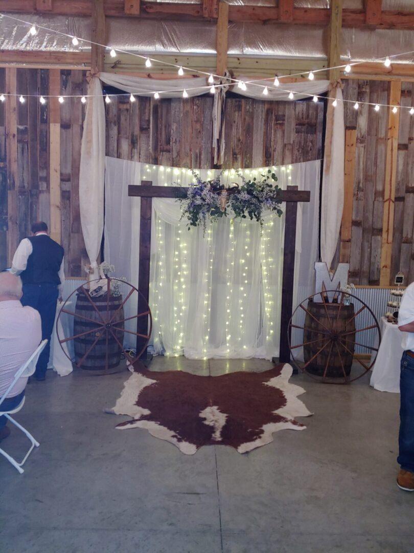 Wedding-themed photo backdrop