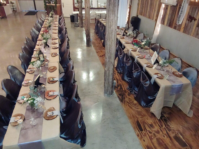 Rows of wedding reception tables