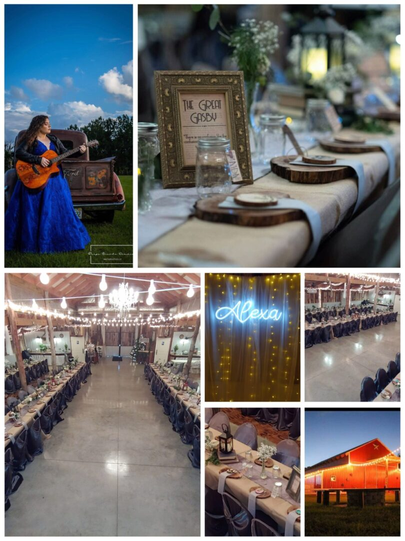 Collage of prenup and reception pictures