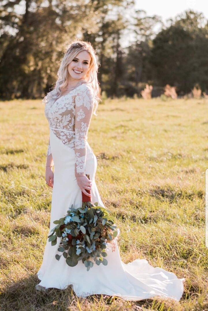 Wedding bride on a hayfield