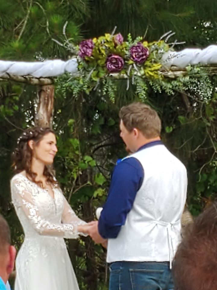 Woman and man exchanging vows