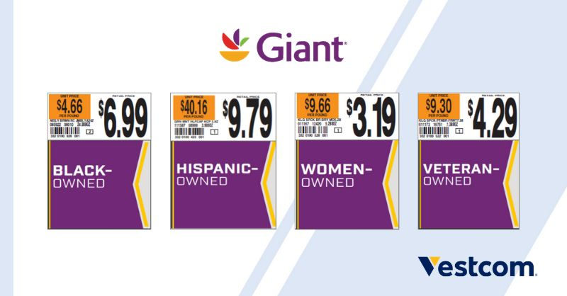 Sample store product price tags indicating if the product is Black-Owned, Hispanic-Owned, Women-Owned, or Veteran-Owned. A purple square is used on the tag to visually make the designations stand out.