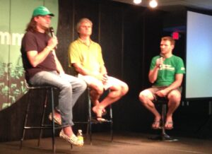 "Marc Nager, Brad Feld, and Steve Case hold a ""fireside chat""."