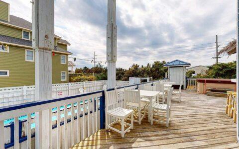 Deck area overlooking pool