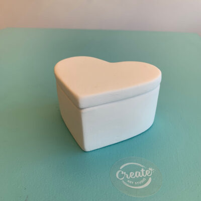 Ceramic heart box paint at home kit from Create Art Studio