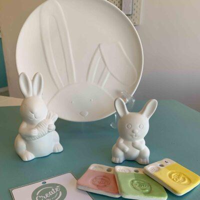 bunny diy ceramics painting kit at home from Create Art Studio