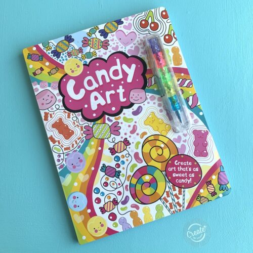 Create Art Studio Candy Art Activity Book with rainbow crayons front cover