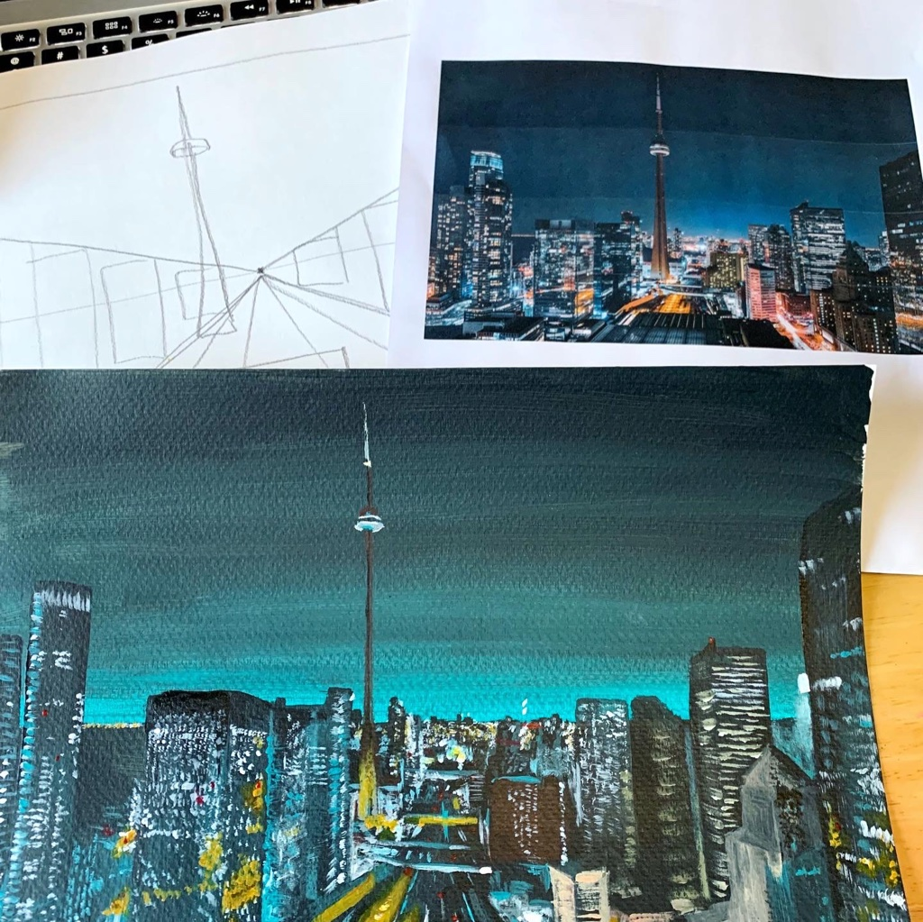 Create Art Studio Adult Acrylic Painting Online Workshop for Intermediate Paint Night Toronto Canada night life city view