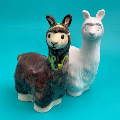 Create Art Studio Painted Ceramic Llama Money Bank art kit to go paint at home ceramics
