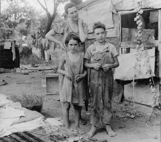 Children and mom from the Depression