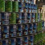 sculpture of cans
