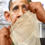 Caricature of Obama ripping Constitution