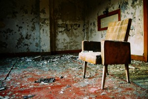 chair in a ruined room