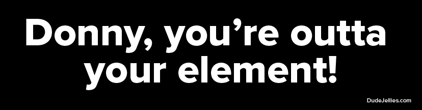 Donny, you're outta your element! Bumper Sticker