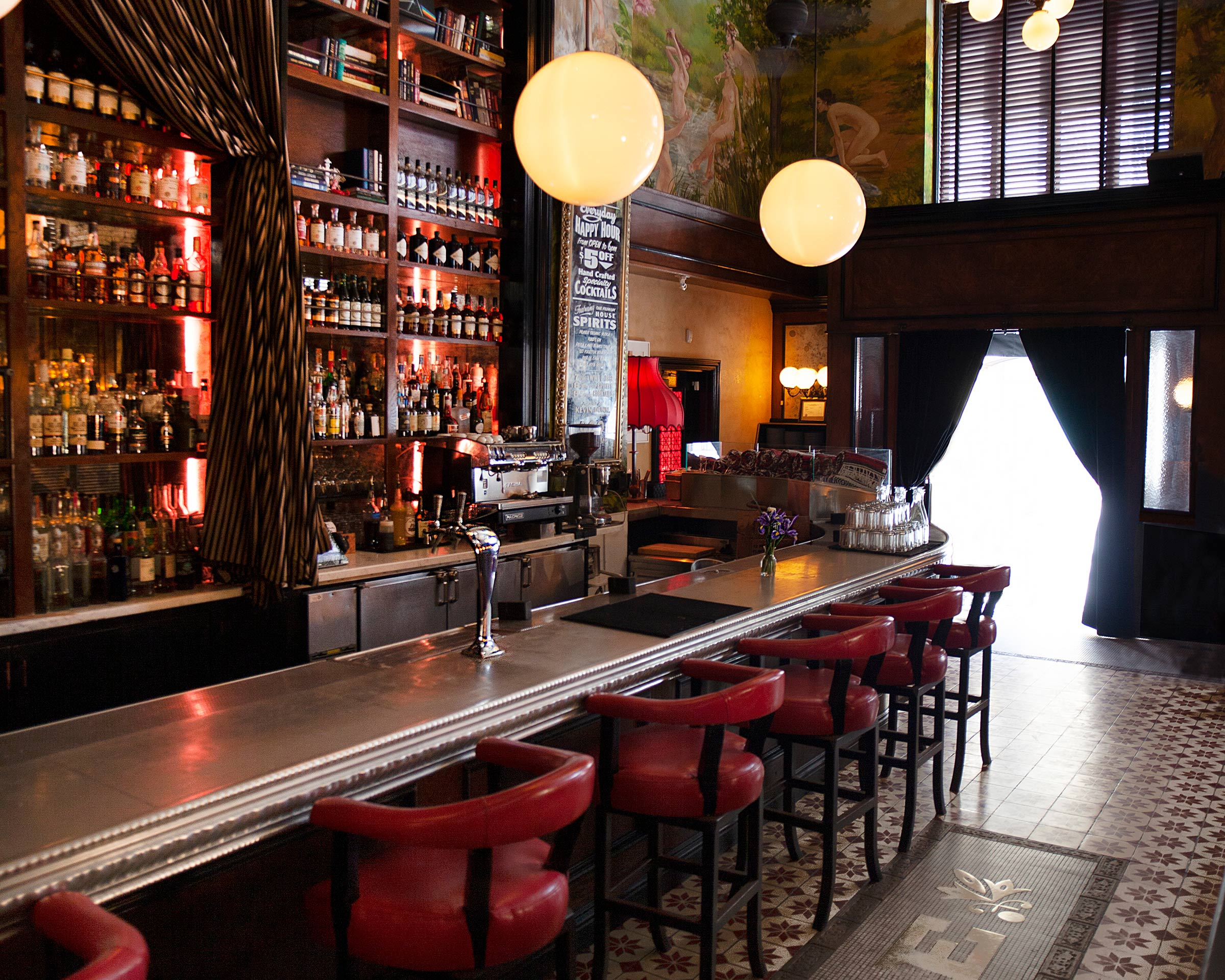 Library Theater Vegetarian Small plates Clean Signature Cocktails Refined Farmers Market Fresh Shared plates High level Theatrical Energy Artful Parisian European Business lunch Art Deco Architecture Happy hour Date night Girls night out Weekend brunch Bachelorette party Birthday Rehearsal dinner Spirits Brunch Ceremony Graduation parties Seasonal Exciting Lively Class Sass class fun en masse
