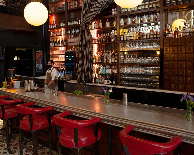 cozy candy cane library bar hipster hand signature cocktails full bar old style raw barVegetarian Small plates Clean Signature Cocktails Refined Farmers Market Fresh Shared plates High level Theatrical Energy Artful Parisian European Business lunch Art Deco Architecture Happy hour Date night Girls night out Weekend brunch Bachelorette party Birthday Rehearsal dinner Spirits Brunch Ceremony Graduation parties Seasonal Exciting Lively Class Sass, class, fun en masse Library Theater