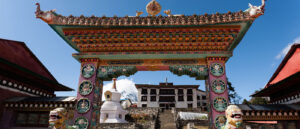 Tengboche Monastery has colorful wall murals of Buddhist imagery and Buddha's footprint.