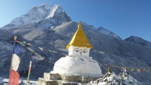 Everest Base Camp: The stupa keeps watch over Dingboche