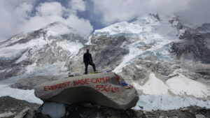 Standing atop Everest Base Camp