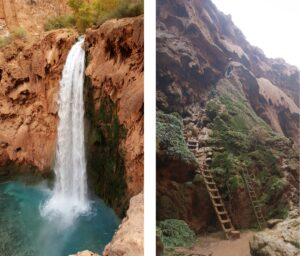 Mooney Falls is on the edge of a cliff. Climbing down tunnels and ladders is thrilling.