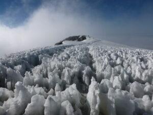 When you summit Kilimanjaro, you see hard, crusty, ice fins.