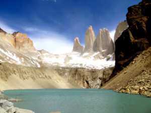 Iconic image of Torres del Paine in Patagonia, the three towers behind a lake.