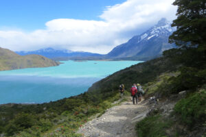 Lake Nordenskjöld's water is light blue with the trail to the north. Patagonia