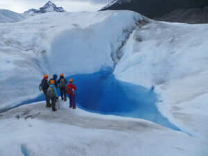 The terrain of Grey Glacier is rife with crevasses, deep blue pools, surging rivers, and serpentine waterpark-like falls. Patagonia