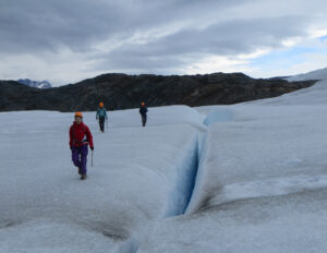 Crevasses may be hundreds of feet deep in the glacier. Patagonia