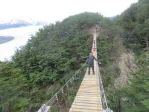 There are two suspension bridges by the glacier