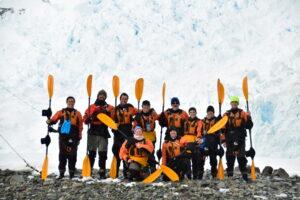 Group photo of the Antarctic kayak team Antarctic Kayaking